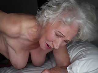Grey-haired cunt for heavy granny gets pounded by young stud