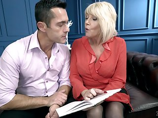 Mature blonde MILF Rosemary loves to get warm semen at hand her throat