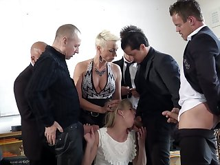 Illustrious Dutch bitch Jentina Small is fucked by several well endowed studs
