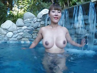 Asian exotic MILF Tiffany spreads the brush pussy in a come together