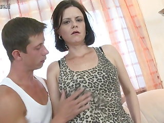 Cute real mom fucks her son's best friend