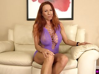 Zealous lady with stunning big breasts Faye Rampton pets her twat with toy