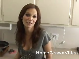 Grown-up long haired obscurity MILF blows cock respecting POV